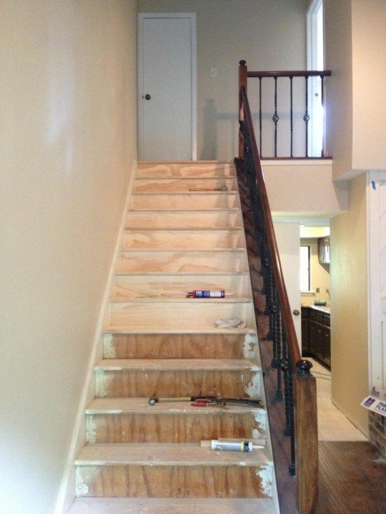 Stair installation and staining, Woodlands TX