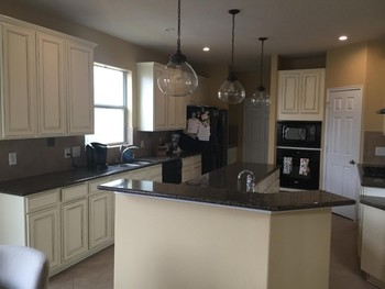 Antique Beige Kitchen Cabinet Painting and Lighting Installation Cinco Ranch, TX